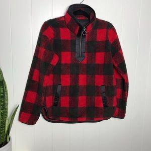 Abercrombie & Fitch Red/Black Plaid Sherpa Jacket